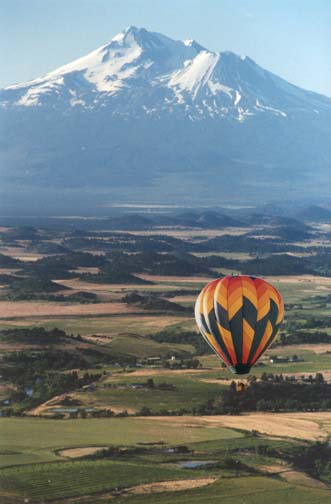 Ballooning with Mt. Shasta in the distance.